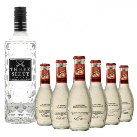 BOX MOSCOW MULE : THREE SIXTY 70CL + 6X SCHWEPPES SPM GINGERBEER 20CL
