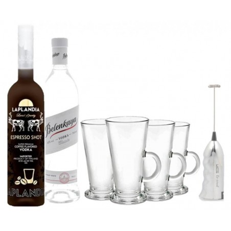 COFFRET ALCOOL - BOX WHITE RUSSIAN : BELENKAYA+LAPLANDIA ESPRESSO + 4 VERRES +MITIGEUR - Planète Drinks