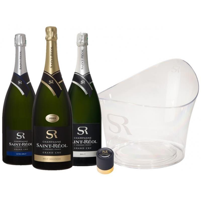 COFFRET VIN - BOX CHAMPAGNE ST REOL MIXTE 3*1,5L + 1 VASQUE + 1 BOUCHON - Planète Drinks