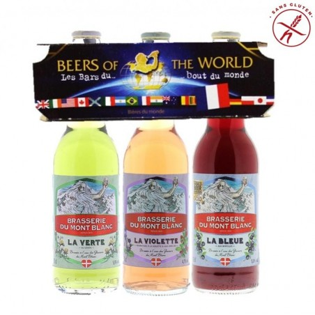 COFFRET BIERE - TRIPACK BEER OF THE WORLD FR MONT BLANC AROMATISEES 3*33CL - Planète Drinks