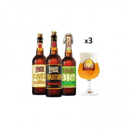 BOX DECOUVERTE GRAIN D'ORGE 3X75CL + 3 VERRES