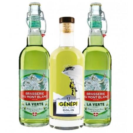 - BOX 100% GENEPI-1XDOLIN LIQUEUR DE GENEPI 70CL+2X MT BLANC VERTE 75CL - Planète Drinks
