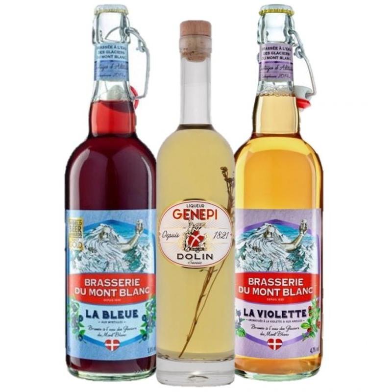 - BOX DECOUVERTE DES ALPES 1XDOLIN LIQUEUR GENEPI 1821+ 2XMT BLANC 75CL - Planète Drinks