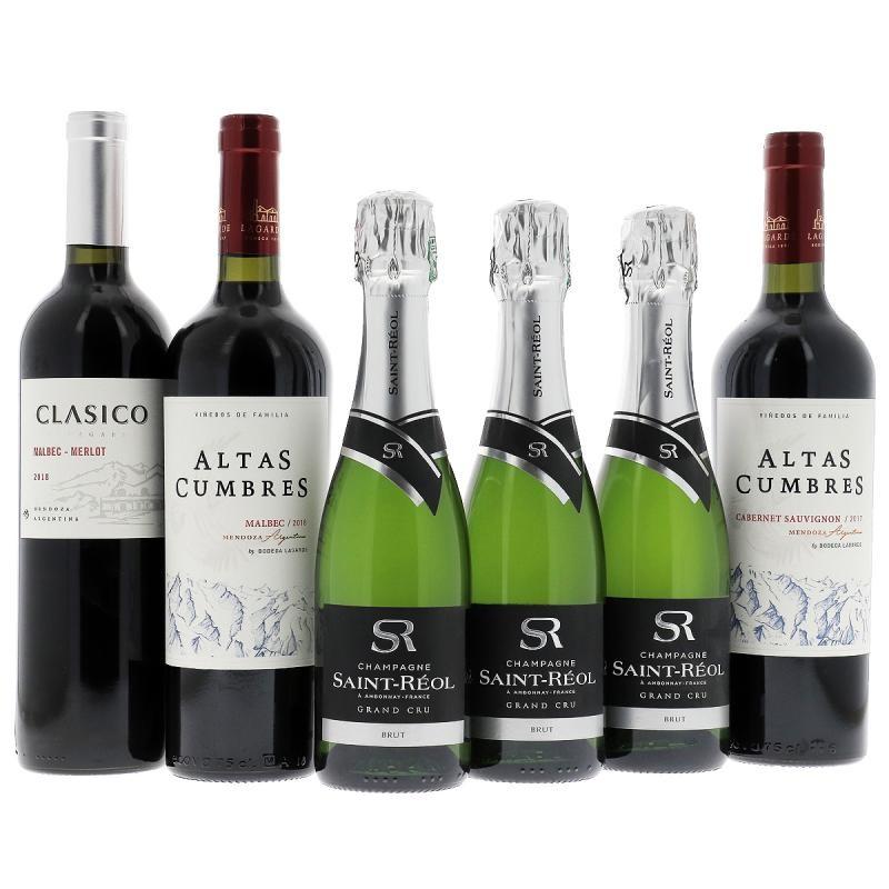 COFFRET MIXTE - BOX MIXTE CHAMPAGNE + VINS ARGENTINS - Planète Drinks