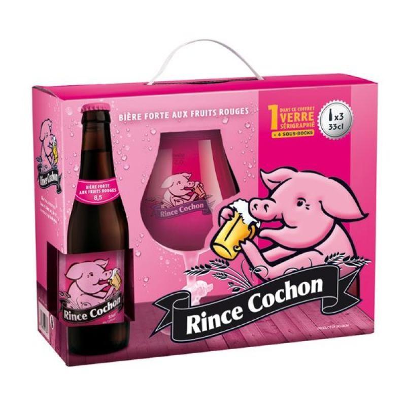 COFFRET BIERE - RINCE COCHON ROUGE COFFRET 3*0,33L + 1VERRE - Planète Drinks