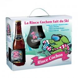 COFFRET BIERE - RINCE COCHON D'HIVER COFFRET 3*0,33L ( 2BL + 1 ROUGE + 1 VERRE ) - Planète Drinks