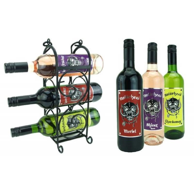 COFFRET VIN - BOX ROCK MOTORHEAD VINS FRANCAIS  3*75CL + 1 WINE RACK - Planète Drinks