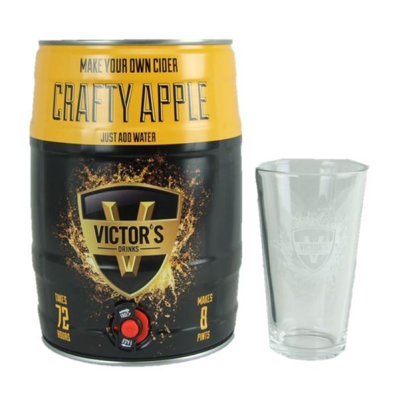 COFFRET CIDRE - VICTOR'S DRINKS BARREL CRAFTY APPLE CIDER 4.5L + 1 VERRE (VP) - Planète Drinks
