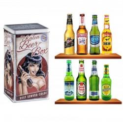 COFFRET BIERE - BOX BOITE METAL 'BLACK HAIR' *8 BIERES DU MONDE - Planète Drinks