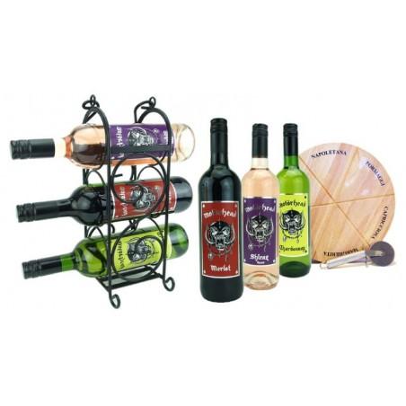 COFFRET VIN - BOX APERO VINS MOTORHEAD 6*75CL + 1 PLANCHE + 1 COUTEAU + 1 RACK WINE - Planète Drinks