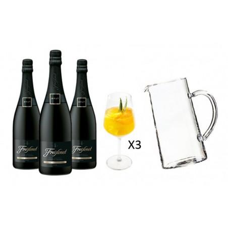 COFFRET VIN - FREIXENET KIT SANGRIA 3 CORDON NEGRO + 1 CARAFE + 3 VERRES - Planète Drinks