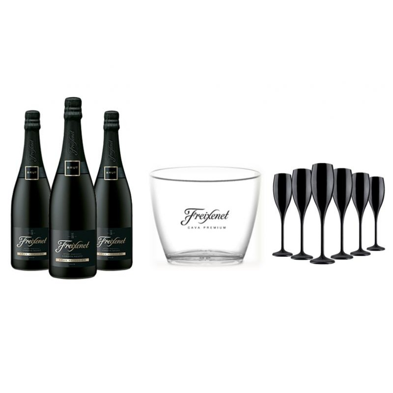 COFFRET VIN - FREIXENET KIT CORDON NEGRO 3 CORDON NEGRO + 6 FLUTES NOIRES+1 SEAU - Planète Drinks