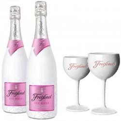 COFFRET VIN - FREIXENET KIT DEGUSTATION ICE 2 BOUTEILLES ICE ROSE + 2 VERRES - Planète Drinks