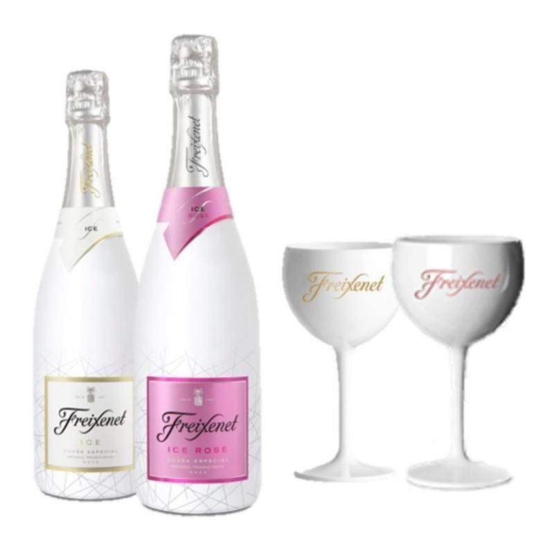 COFFRET VIN - FREIXENET KIT DEGUSTATION ICE 2 BOUTEILLES (ICE+ICE ROSE) +2 VERRES - Planète Drinks