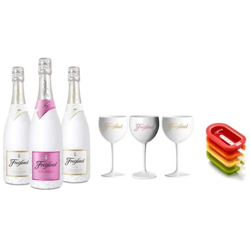 COFFRET VIN - FREIXENET KIT ICE POPTAILS 3 BTLES (2 ICE,1 ICE ROSE)+ 3V+ 4 MOULES - Planète Drinks