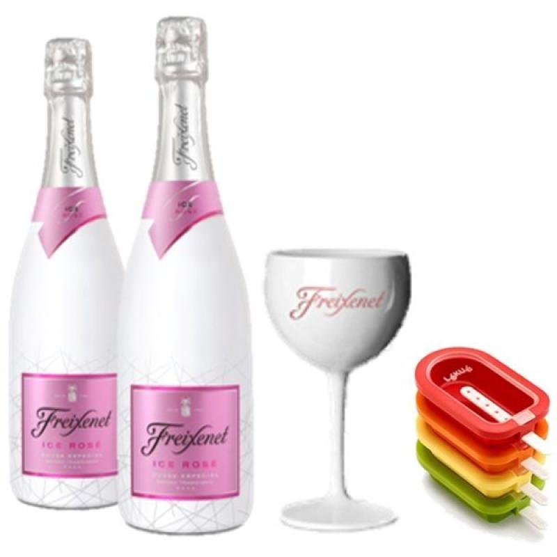 COFFRET VIN - FREIXENET KIT ICE POPTAILS 2 BOUTEILLES ICE ROSE+ 1VERRE + 4 MOULES - Planète Drinks