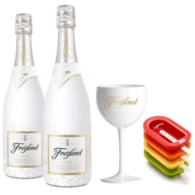 COFFRET VIN - FREIXENET KIT ICE POPTAILS 2 BOUTEILLES ICE+ 1 VERRE + 4 MOULES - Planète Drinks