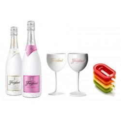 COFFRET VIN - FREIXENET KIT ICE POPTAILS 2 BTLES (ICE+ICE ROSE) +2 VERRES+4 MOULES - Planète Drinks