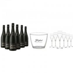 COFFRET VIN - FREIXENET KIT SOIREE LA FREIX 6 CORDON NEGRO + 6 FLUTES +1 SEAU - Planète Drinks