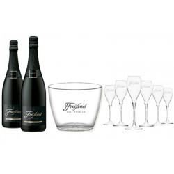 COFFRET VIN - FREIXENET KIT SOIREE LA FREIX 2 CORDON NEGRO + 6 FLUTES +1 SEAU - Planète Drinks