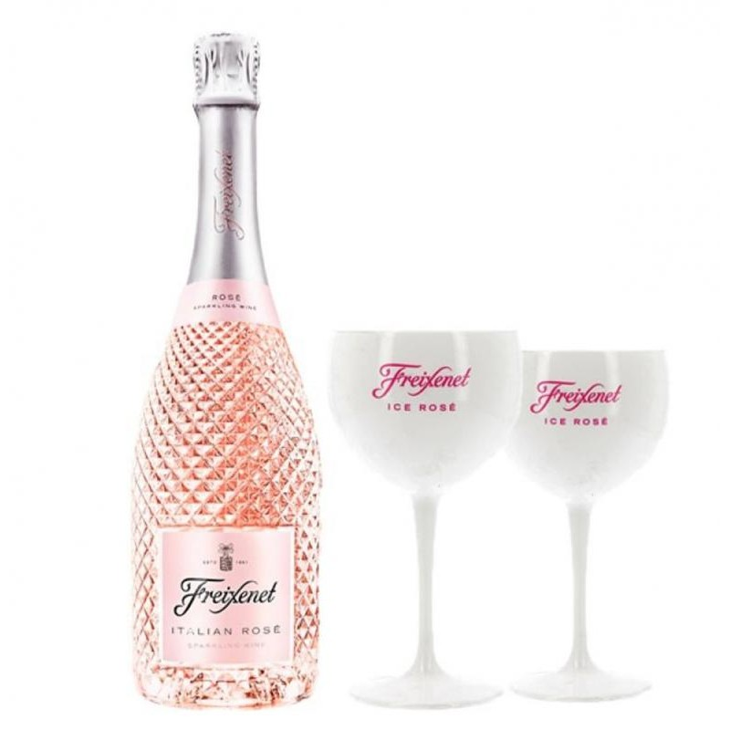 COFFRET VIN - FREIXENET KIT ITALIAN ROSE + 2 VERRES ICE ROSE - Planète Drinks