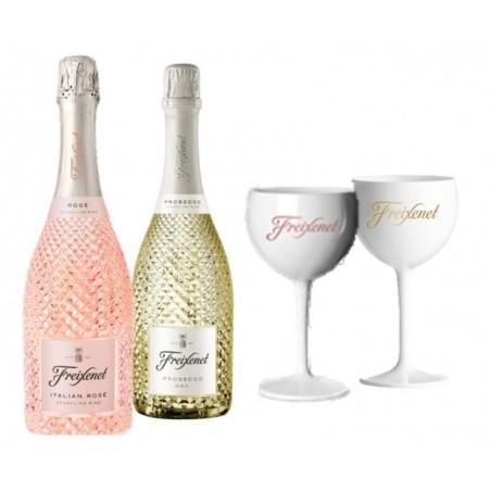 COFFRET VIN - FREIXENET KIT PROSECCO & ITALIAN : 2 BOUTEILLES + 2 VERRES - Planète Drinks