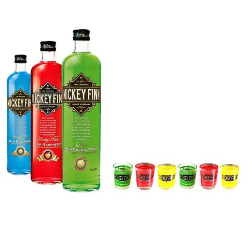 COFFRET ALCOOL - SELECTION MICKEY FINNS LIQUEURS IRLANDAISES 3*50CL + 12 SHOOTERS - Planète Drinks