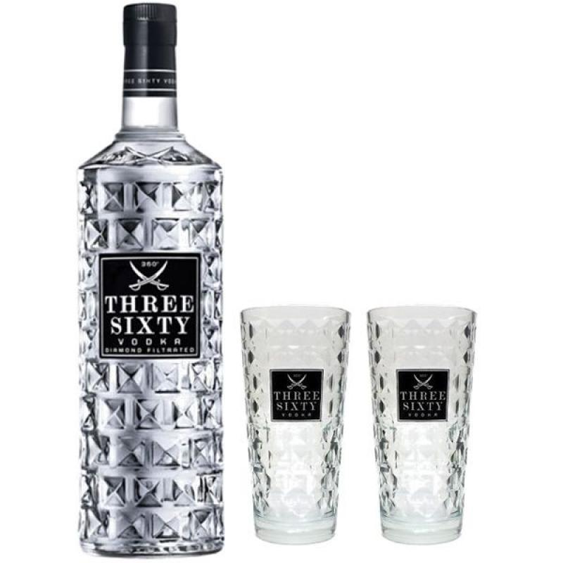 COFFRET ALCOOL - THREE SIXTY PREMIUM VODKA 1*70CL + 2 VERRES - Planète Drinks