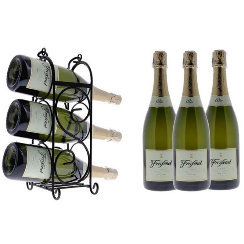 COFFRET VIN - FREIXENET VINS MOUSSEUX BIO 3*75CL + 1 WINE RACK - Planète Drinks