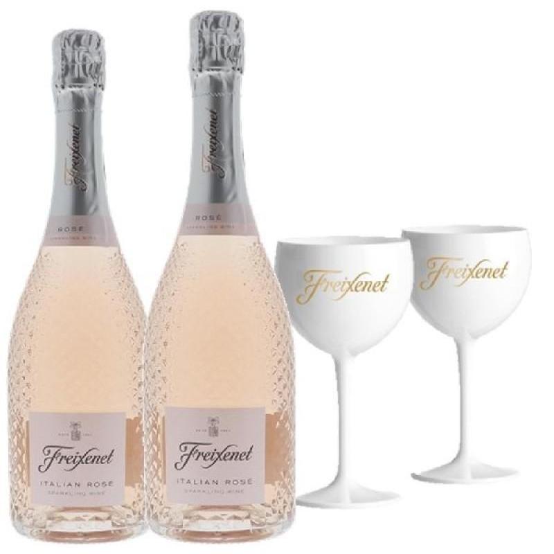 COFFRET VIN - FREIXENET KIT  ITALIAN ROSE : 2 BOUTEILLES + 2 VERRES - Planète Drinks