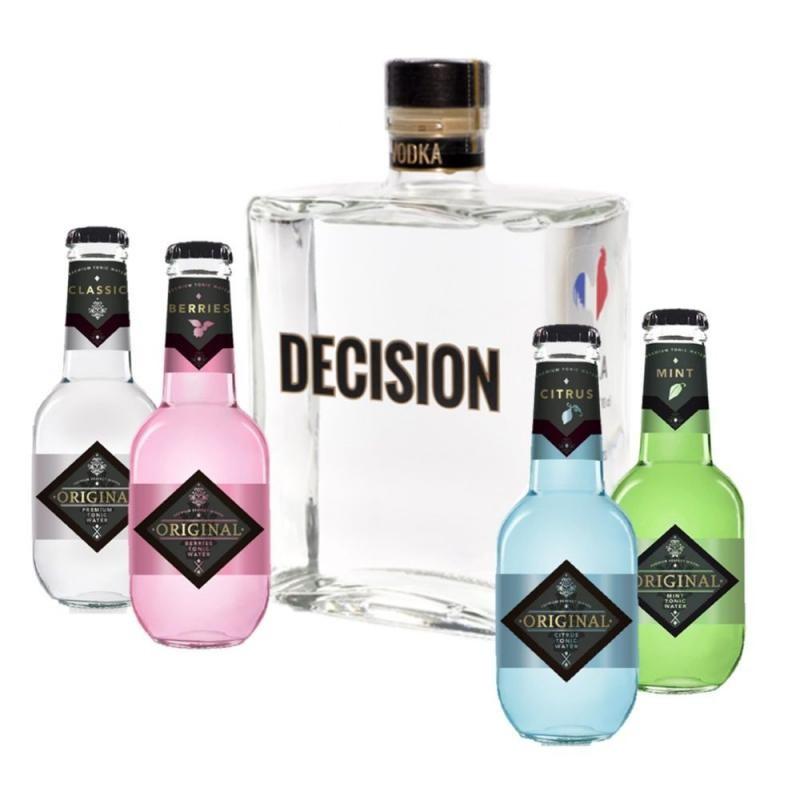 COFFRET ALCOOL - BOX MIXOLOGIE VODKA DECISION 70CL + 4 ORIGINAL TONIC 2CL - Planète Drinks