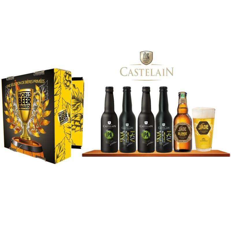COFFRET BIERE - COFFRET CASTELAIN 5 BIERES PRIMEES WORLD BEER AWARDS + 1 VERRE - Planète Drinks