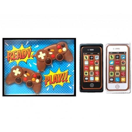 COFFRET CHOCOLATS - BOX CHOCOLAT GEEK 2 MANETTES + 2 SMARTPHONES - Planète Drinks