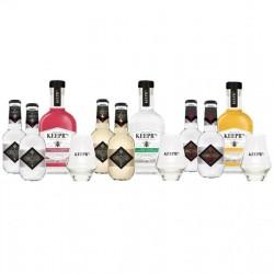 COFFRET ALCOOL - BOX MIXOLOGIE GIN 3*20CL + 6 TONIC + 3 VERRES - Planète Drinks