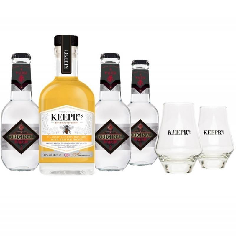 COFFRET ALCOOL - COFFRET KEEPR'S HONEY GIN  1*20CL + 3 TONIC + 2 VERRES - Planète Drinks
