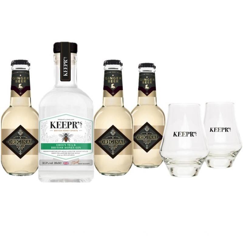 COFFRET ALCOOL - KEEPR'S GREEN TEA 1*20CL + 3 TONIC + 2 VERRES - Planète Drinks
