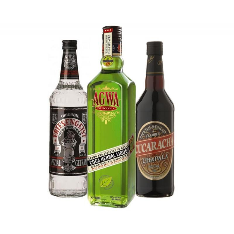 COFFRET ALCOOL - BOX DECOUVERTE SHOOTERS 3X70CL- CUCARACHA+AGWA+MICKEY FINN APPLE - Planète Drinks