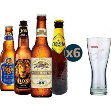 COFFRET BIERE - BOX SELECTION ASIE 4*6 BOUTEILLES + 1 VERRE - Planète Drinks