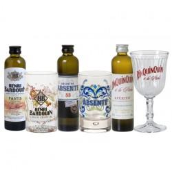 COFFRET ALCOOL - BOX DEGUSTATION ALCOOLS DE PROVENCE 3*10CL + 3VERRES - Planète Drinks