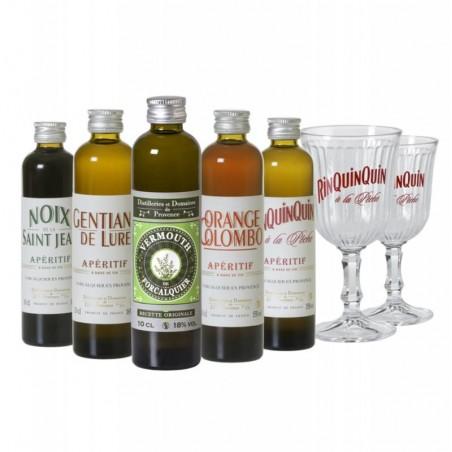 COFFRET ALCOOL - BOX DEGUSTATION APERITIFS DE PROVENCE 5*10CL + 2VERRES - Planète Drinks