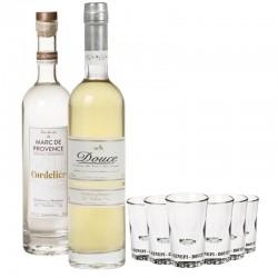 COFFRET ALCOOL - BOX DECOUVERTE EAUX DE VIE DE PROVENCE 2*50CL + 6VERRES - Planète Drinks