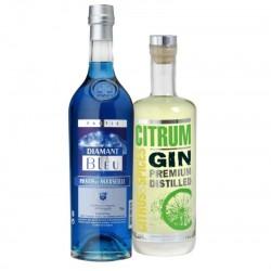 COFFRET ALCOOL - BOX COULEURS DE PROVENCE 2*70CL - DIAMANT BLEU + GIN CITRUM - Planète Drinks