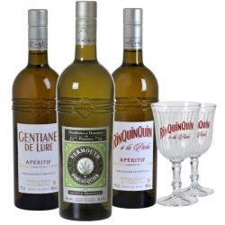 COFFRET ALCOOL - BOX ALCOOLS D'ANTAN 3*75CL - RINQUINQUIN GENTIANE VERMOUTH +2VERRES - Planète Drinks