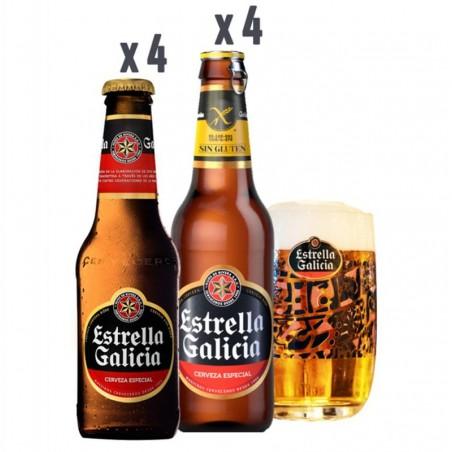 BOX DECOUVERTE ESTRELLA GALICIA 4*25CL+4*33CL+1VERRE